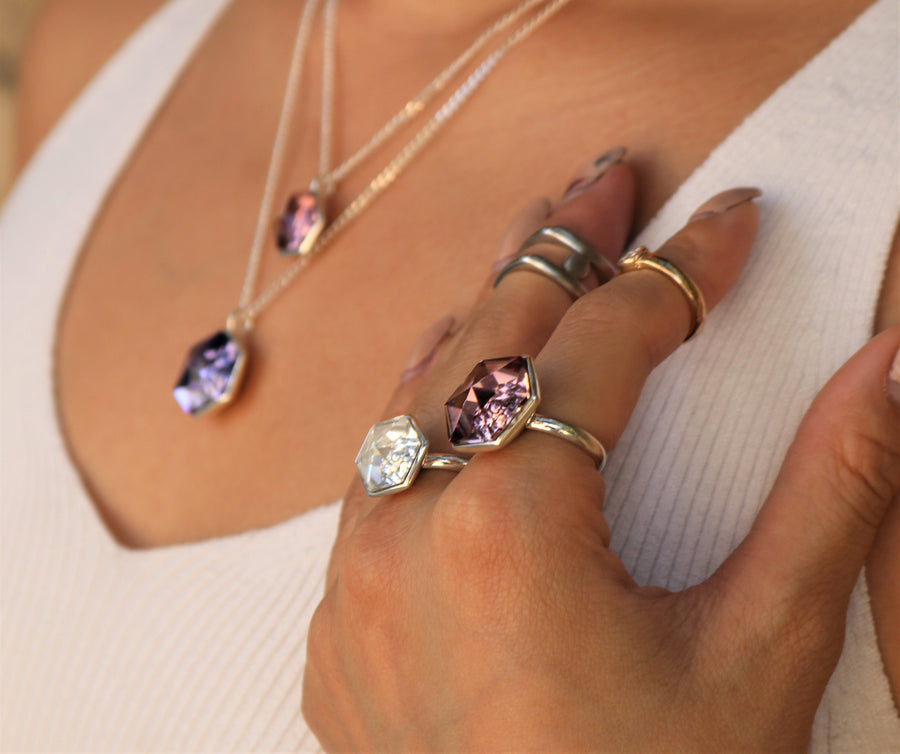 The W Brothers 18 mm Smokey Mauve Pink Swarovski Crystal Ring and Necklace for Men and Women.