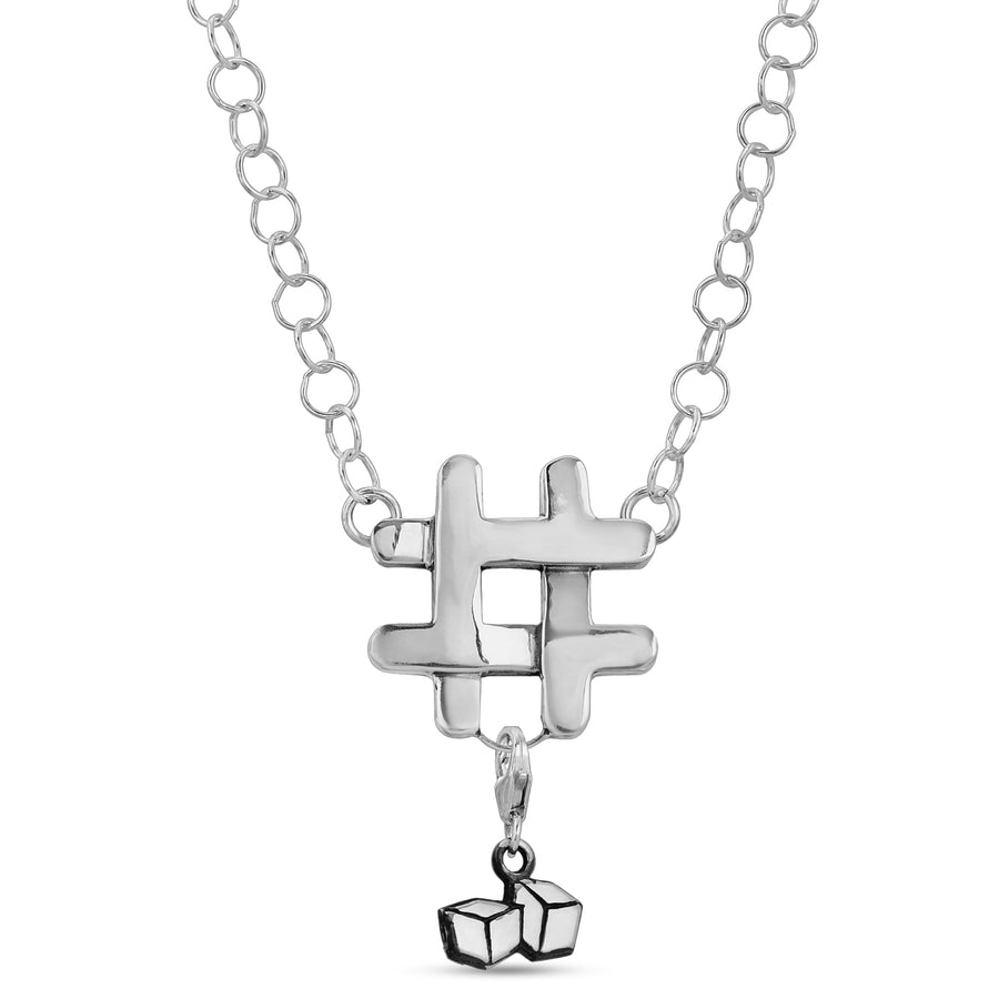 # pendant Hashtag necklace pendants sterling silver clip charms ice cube by The W Brothers