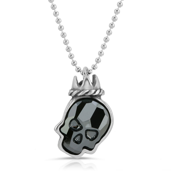 The W brothers Swarovski Skull Necklace in chrome black with a gorgeous silver crown crafted from premium Grade A Sterling Silver. Perfect jewelry accessory necklace for fashionable statement women. Available at www.thewbros.com