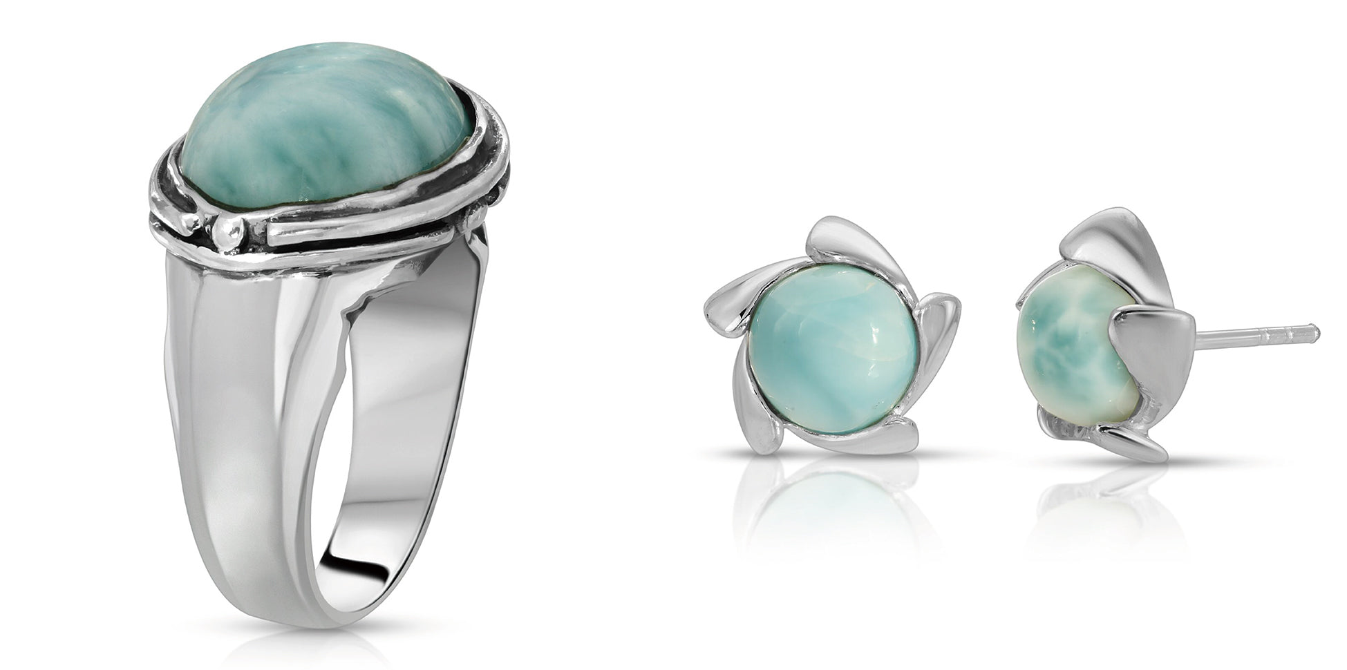 The W Brothers Larimar Oval Ring with our handcrafted Larimar Vortex Earrings designed for fashion and comfort for women or female accessory. Unique style of vintage and modern elegance, crafted with premium Grade A 925 Sterling Silver for a refined look. Available at www.thewbros.com