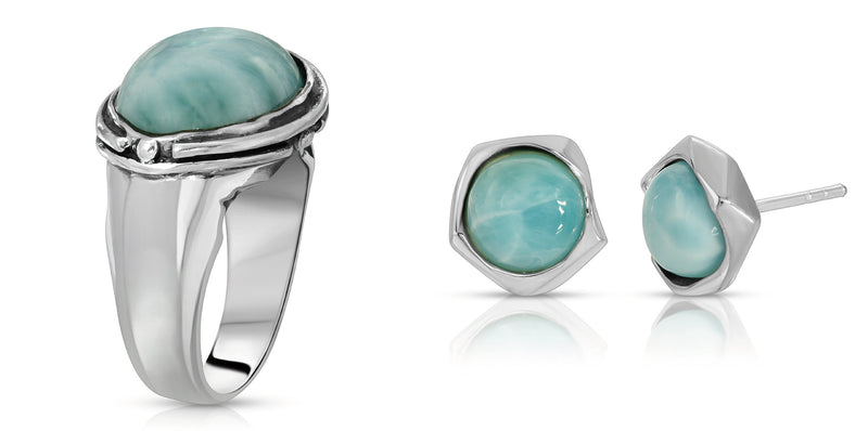THE W BROTHERS LARIMAR EARRINGS AND OVAL RING BUNDLE SET IN PREMIUM GRADE A STERLING SILVER. PROFESSIONALLY SET WITH HAND-SELECTED NATURALLY SOURCED LARIMAR GEMSTONES FOR A COMPLETE LOOK FOR ALL WOMEN AND FEMALE FASHION ACCESSORY. AVAILABLE AT WWW.THEWBROS.COM