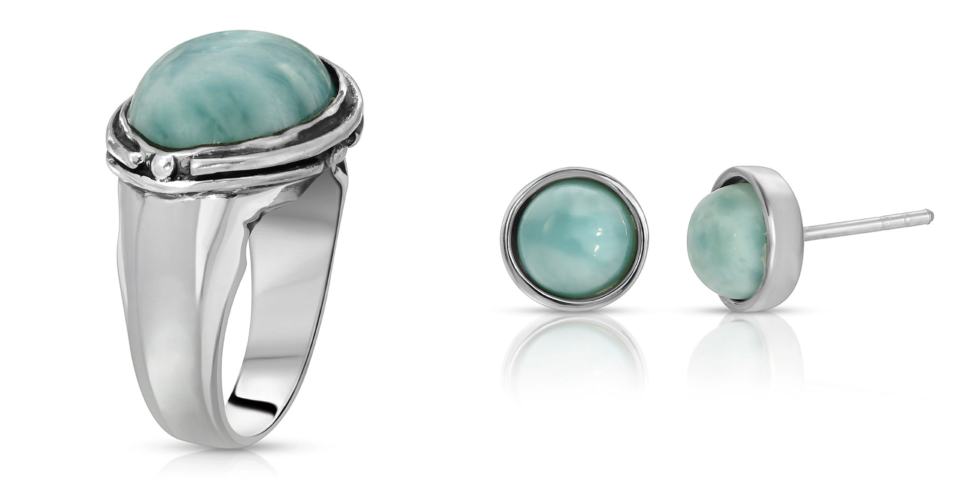 The W Brothers Larimar Oval Ring plus our handcrafted Larimar gemstone Roud Earrings crafted to perfection in premium Grade A Sterling silver. Perfect for female and women fashion accessory, available at www.thewbros.com