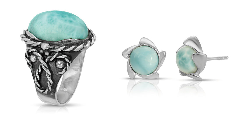 The W Brothers Larimar Braided Oval Ring and Larimar Gemstone Vortex Earrings for a bundle package deal. Perfect accessory for female and women fashion. Available at www.thewbros.com
