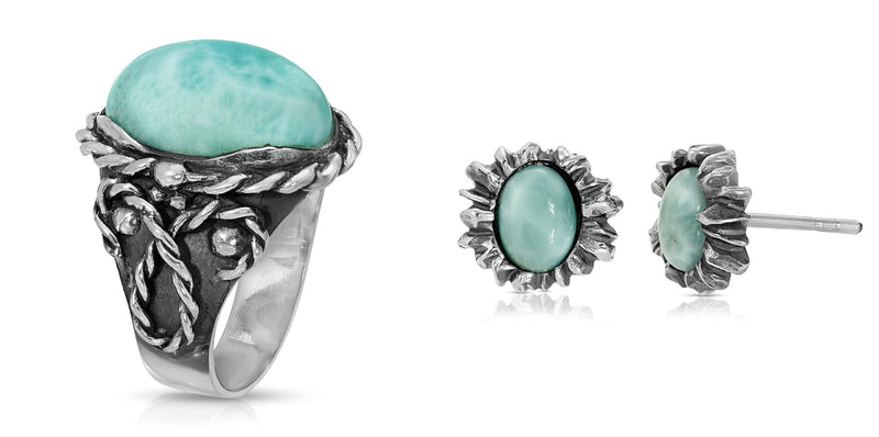 The W Brothers Larimar Braided Oval Ring includes Larimar Sunshine Earrings with handcrafted details and high quality materials. High quality gemstone jewelry designed for vintage and modern elegance. Available at www.thewbros.com