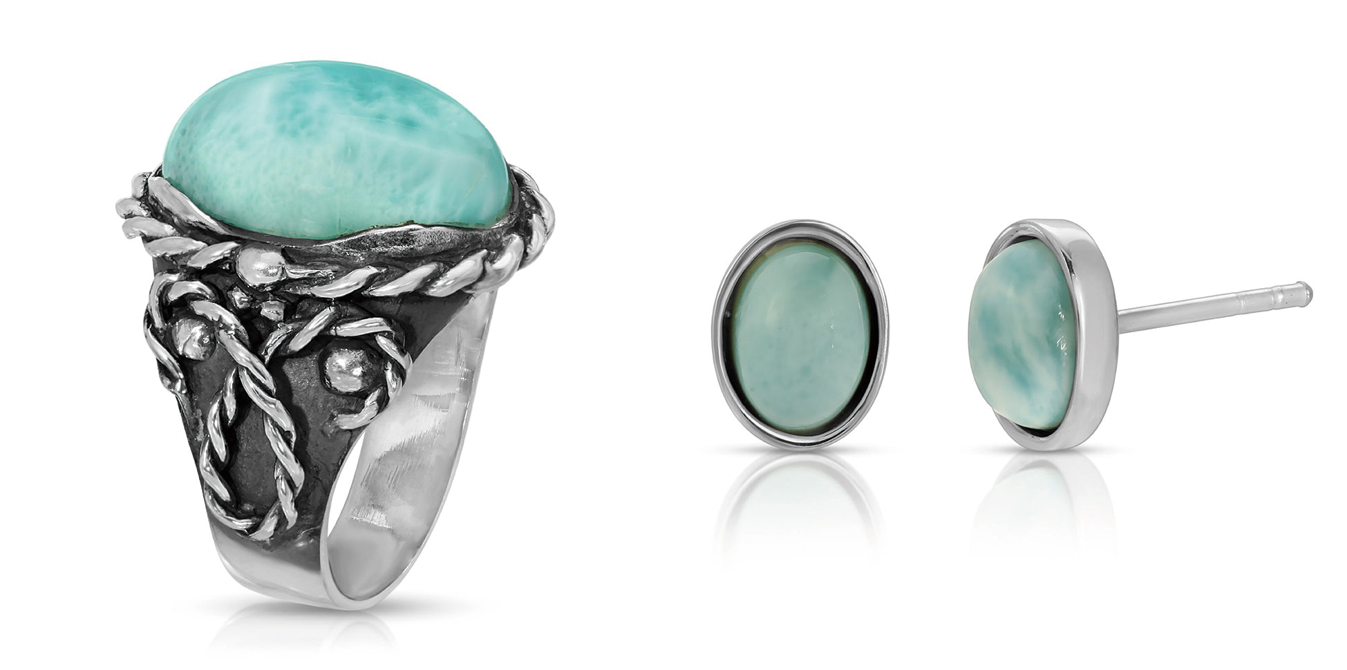 The W Brothers Larimar Braided Oval Ring matched with naturally sourced Larimar Gemstone Earrings for a complete refined look for female and women fashion accessory look. Hand-crafted with premium Grade A 925 Sterling Silver, this bundle set is a perfect combination for a vintage and modernistic look.