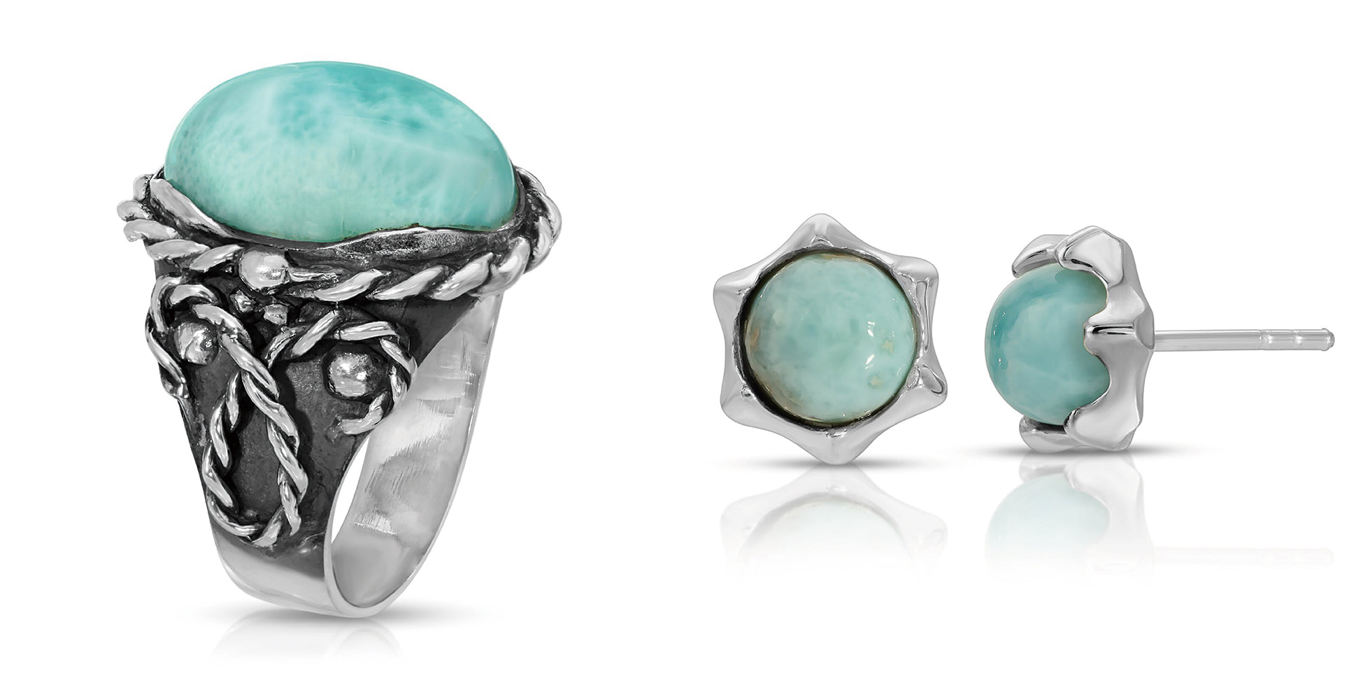 The W Brothers Braided Larimar Oval Ring includes Larimar Gemstone Earrings designed for women and female fashion accessory. Naturally sourced Larimar Gemstones of AA Grade Quality in premium 925 Sterling silver. Available at www.thewbros.com