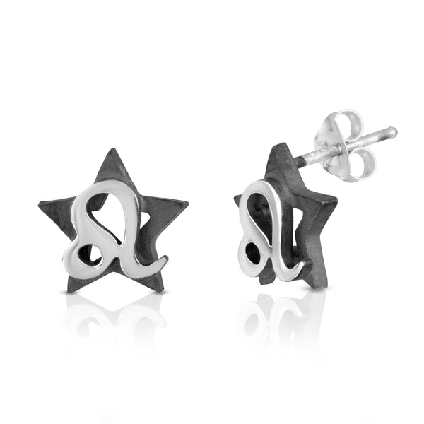The W Brothers hand-crafted premium 925 Sterling silver star-sign stud earrings crafted in the highest quality of sterling silver with an oxidized star sign in the back with the beautiful Leo horoscope zodiac fire symbol projecting on the front. Available in premium sterling silver, real 18k yellow gold & rose gold. Shop your original look only at thewbros.com