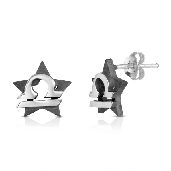 The W Brothers hand-crafted premium 925 Sterling silver star-sign stud earrings crafted in the highest quality of sterling silver with an oxidized star sign in the back with the beautiful libra zodiac horoscope symbol projecting on the front. Available in premium sterling silver, real 18k yellow gold & rose gold. Shop your original look only at thewbros.com