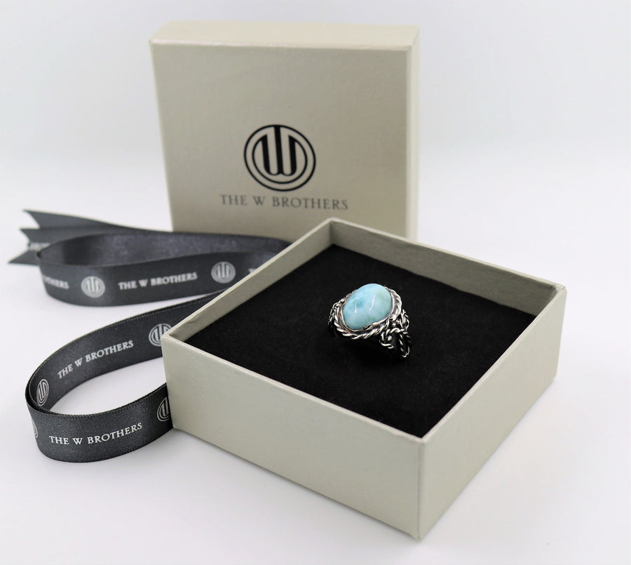 The W Brothers Larimar Oval Braided Ring made with 925 Sterling Silver