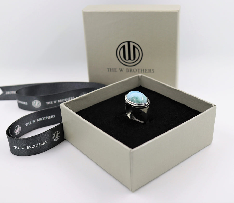 Larimar silver ring stone gemstone high fashion jewelry men women The W Brothers 925 sterling silver