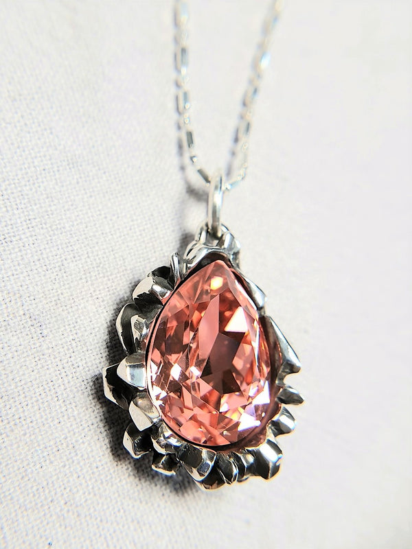 Pear Cut Light Peach Swarovski Pendant - The W Brothers