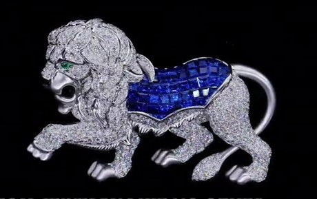 Blue Baguette 18K White Gold Lion