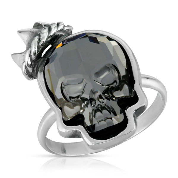 The W brothers Swarovski Skull Ring in clear black with a gorgeous silver crown crafted from premium Grade A Sterling Silver. Perfect jewelry accessory ring for fashionable statement women. Available at www.thewbros.com