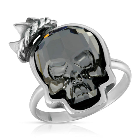 Clear Black Crown Skull Ring