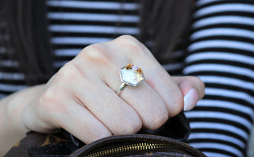 The W Brothers Hexagon Swarovski crystal Peach Yellow Topaz Ring for women and men in Silver.