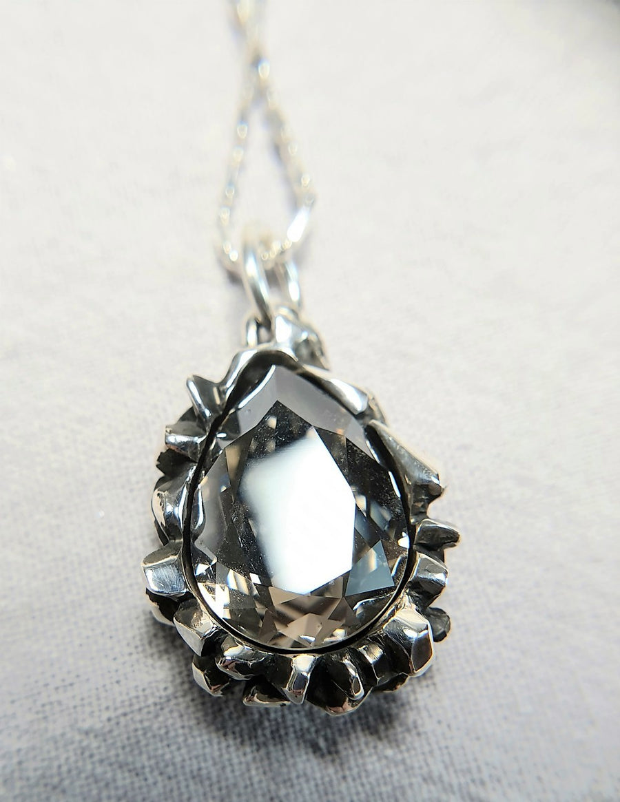 The W Brothers Pear Cut Black Diamond Swarovski Pendant Necklace for Female, crafted with the highest grade of 925 Sterling Silver.