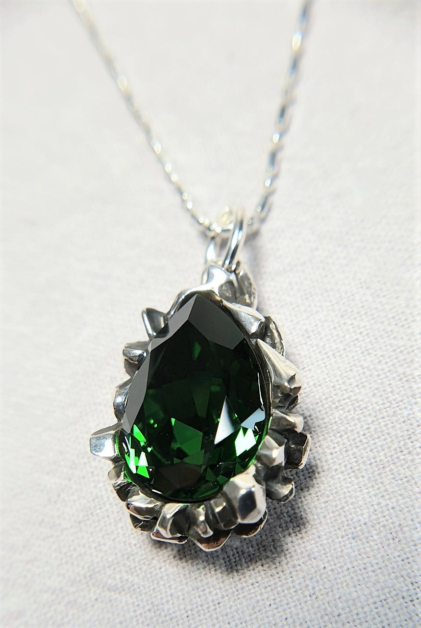 The W Brothers Pear Cut Green Emerald Swarovski Pendant Necklace for Female, crafted with the highest grade of 925 Sterling Silver.