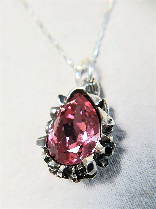 Pear Cut Rose Peach Swarovski Pendant - The W Brothers