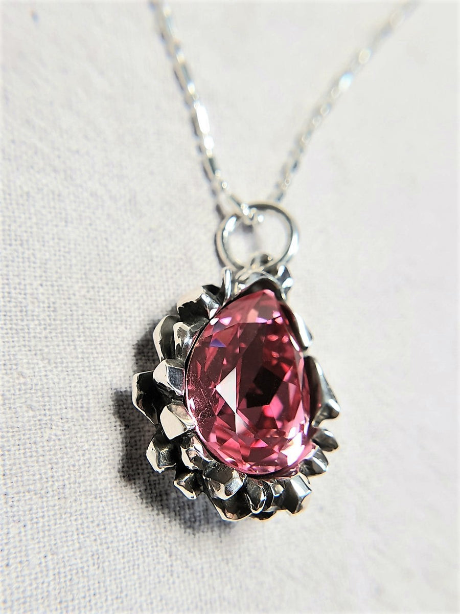 The W Brothers Pear Cut Rose Peach Swarovski 925 Sterling Silver Pendant Necklace, perfect for Female and women.