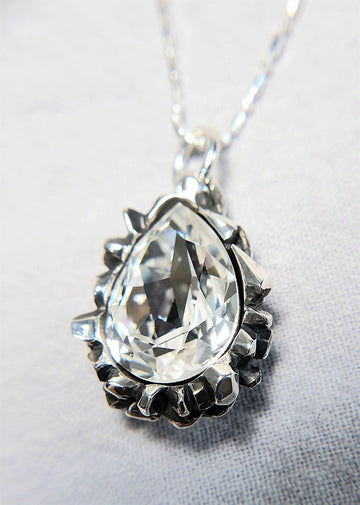 The W Brothers Pear Cut White Diamond Swarovski Pendant Necklace for Female, crafted with the highest grade of 925 Sterling Silver.