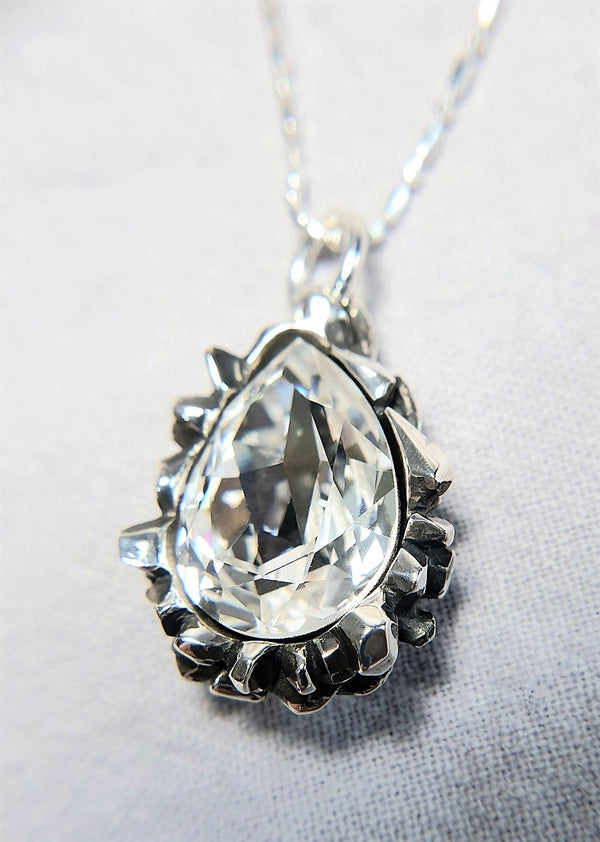 Pear Cut White Diamond Swarovski Pendant - The W Brothers