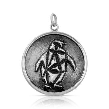 Mini Geometric Penguin Pendant necklace sterling silver by The W Brothers