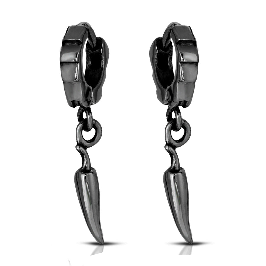 The W Brothers A Grade 925 Sterling Silver Black Nickel Flaming Chili Pepper Cuff Earrings, perfect for men and women. Fashionable accessory to make a trendy statement. Available in Silver, Gold, Rose gold, and Black nickel, vegetable cuff earrings, hot pepper earrings