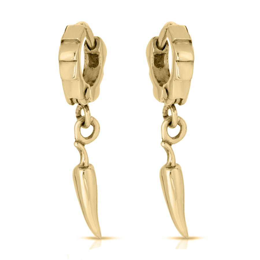 The W Brothers A Grade 925 Sterling Silver Gold Flaming Chili Pepper Cuff Earrings, perfect for men and women. Fashionable accessory to make a trendy statement. Available in Silver, 14k Gold, Rose gold, and Black nickel.