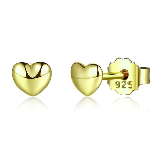 The W Brothers gold hand-crafted beautiful heart earrings petite women earrings for female