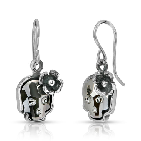 Silver Night Flower Skull Earrings