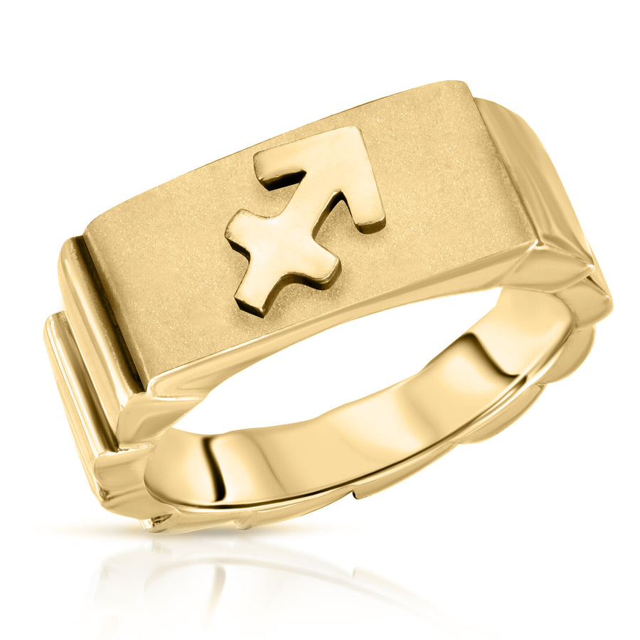 The W Brothers Sagittarius zodiac horoscope ring, made with 925 sterling silver jewelry with 14k gold 14k rose gold plated finish. Sagittarius sign jewelry ring zodiac horoscope jewelry customized ring.