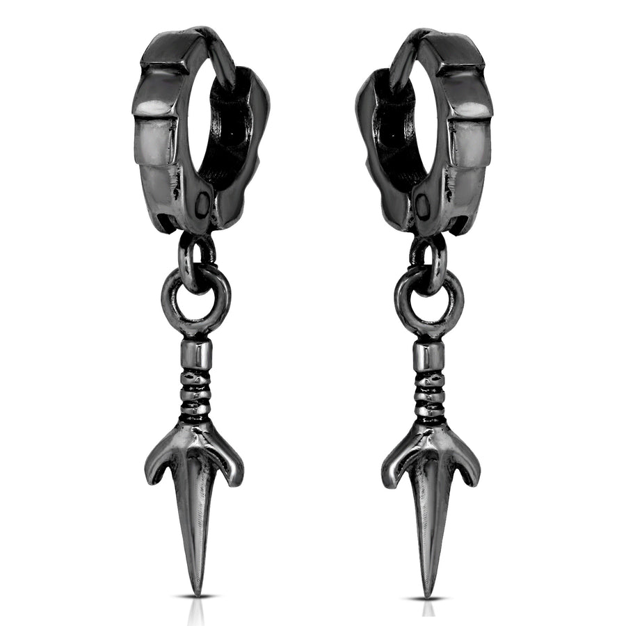 The W Brothers 925 Sterling Silver Futuristic Sai Knife Cuff Earrings available in Silver, Rose gold, Yellow Gold. Perfect for men and women looking for a fashionable/trendy accessory. black silver kunai earrings naruto, black silver kunai knife dangle earrings