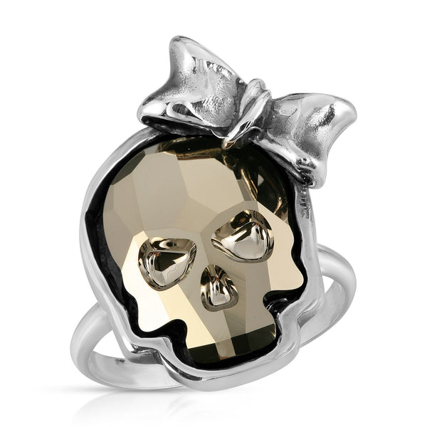 The W brothers Swarovski Skull Ring in metallic gold with a gorgeous silver ribbon crafted from premium Grade A Sterling Silver. Perfect jewelry accessory ring for fashionable statement women. Available at www.thewbros.com