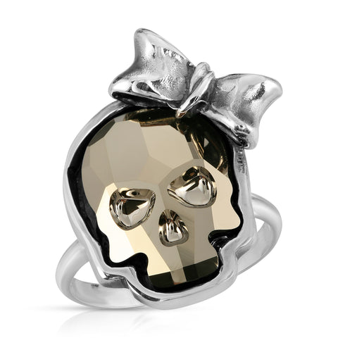 Metallic Gold Ribbon Skull Ring
