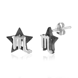 The W Brothers hand-crafted premium 925 Sterling silver star-sign stud earrings crafted in the highest quality of sterling silver with an oxidized star sign in the back with the beautiful scorpio water symbol projecting on the front. Available in premium sterling silver, real 18k yellow gold & rose gold. Shop your original look only at thewbros.com