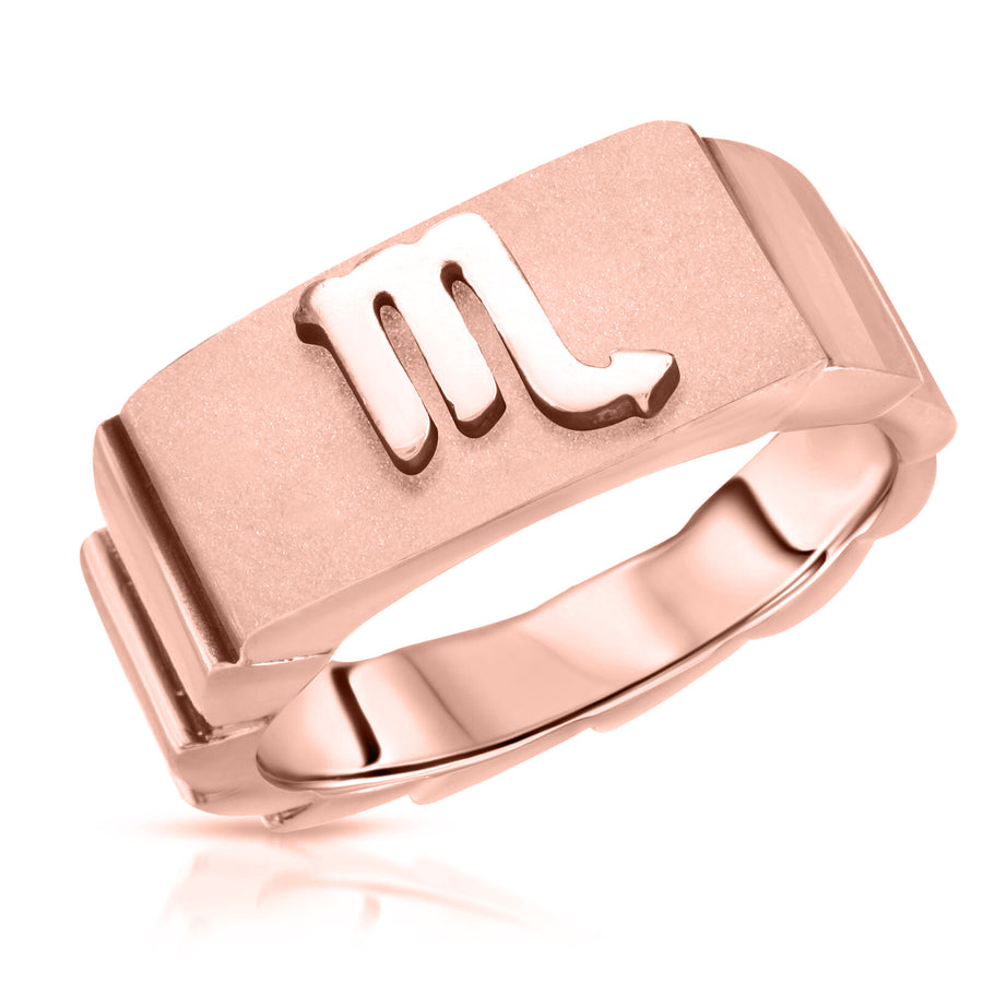 The W Brothers Scorpio horoscope ring beautiful design, Scorpio sign scorpio zodiac sign ring jewelr, made with 925 Sterling Silver, 14k gold, 14k rose gold finish. Horoscope jewelry ring fashion jewelry, custom jewelry, customized zodiac ring, custom horoscope rings