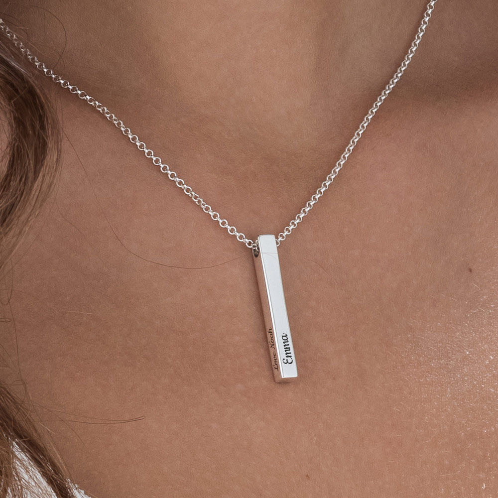Silver custom bar necklace -The W Brothers thewbros long silver 3d bar necklace