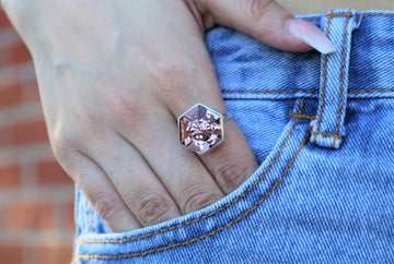 The W Brothers Smokey Mauve Pink Swarovski Crystal Ring and Necklace for Men and Women.