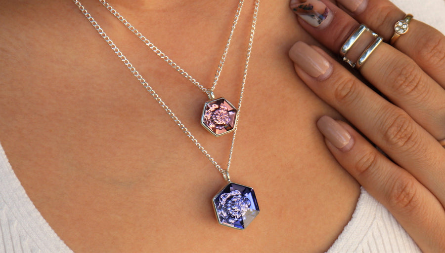 The W Brothers 14 mm Hexagon Smokey Mauve Pink Swarovski Pendant Necklace in Silver for girls, women, men , and male.