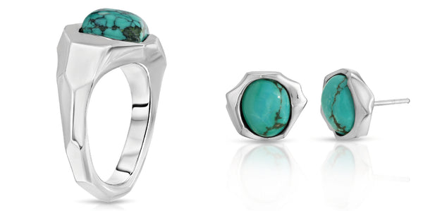 The W Brothers cubic spirit ward turquoise ring and earrings couple set bundle package set crafted in 925 sterling silver with natural AA Grade turquoise gemstones. Matching set earrings in turquoise perfect for a complete outfit. Only available at www.thewbros.com. Unique couple set with modern-designed craftsmanship designed for a fashionable look.