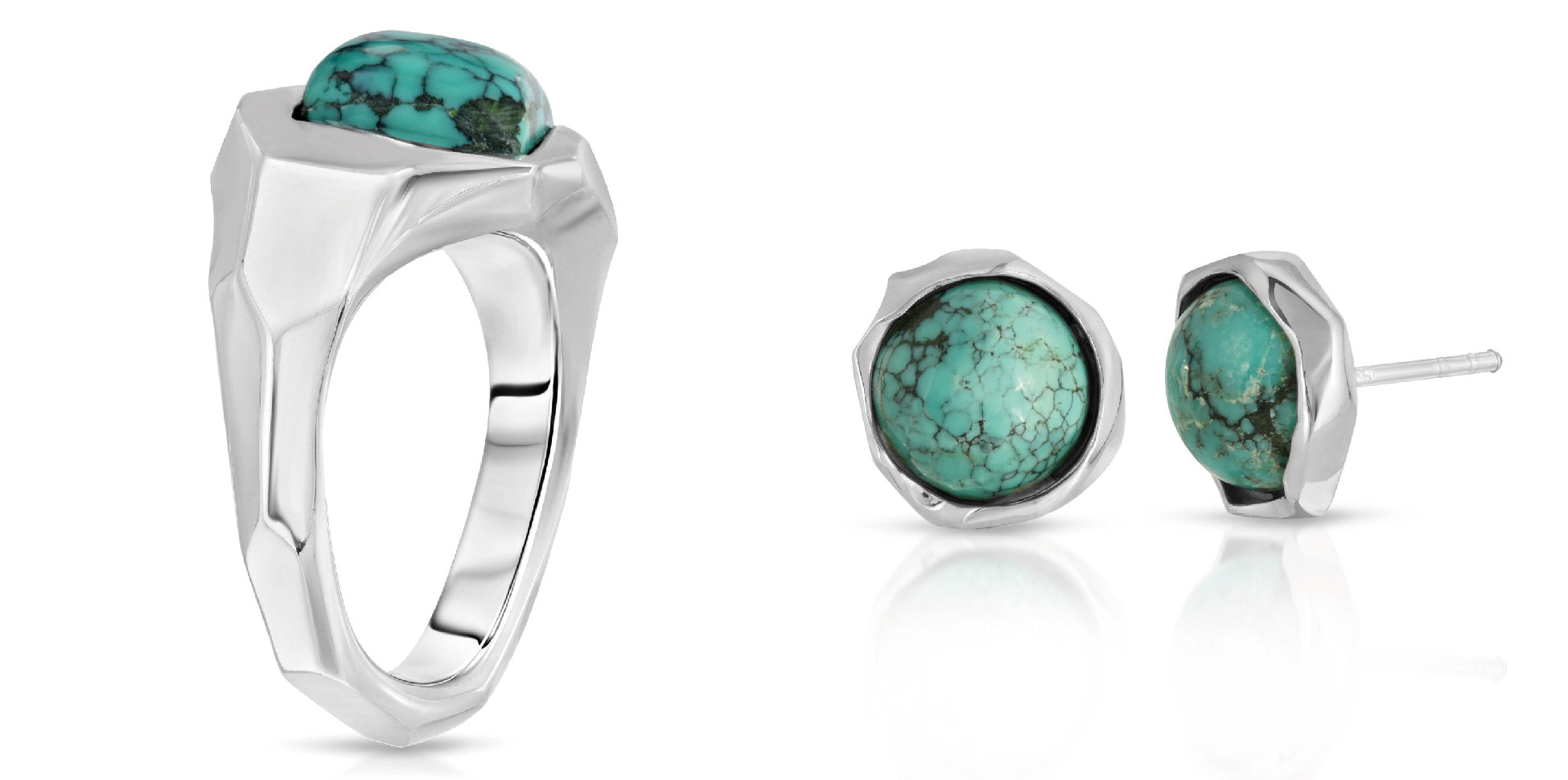 The W Brothers turquoise ring and earrings couple set bundle package set crafted in 925 sterling silver with natural AA Grade turquoise gemstones. Matching set round angled earrings in turquoise perfect for a complete outfit. Only available at www.thewbros.com