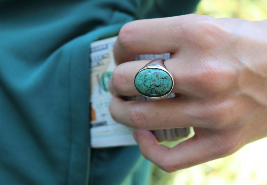 Green Turquoise Oval Ring