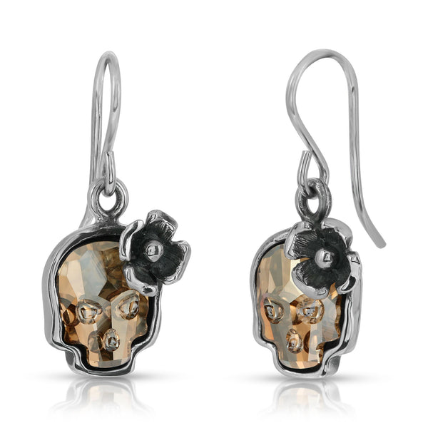 The W brothers Swarovski Skull earrings in Clear Gold with a gorgeous silver flower crafted from premium Grade A Sterling Silver. Perfect jewelry accessory earrings for fashionable statement women. Available at www.thewbros.com