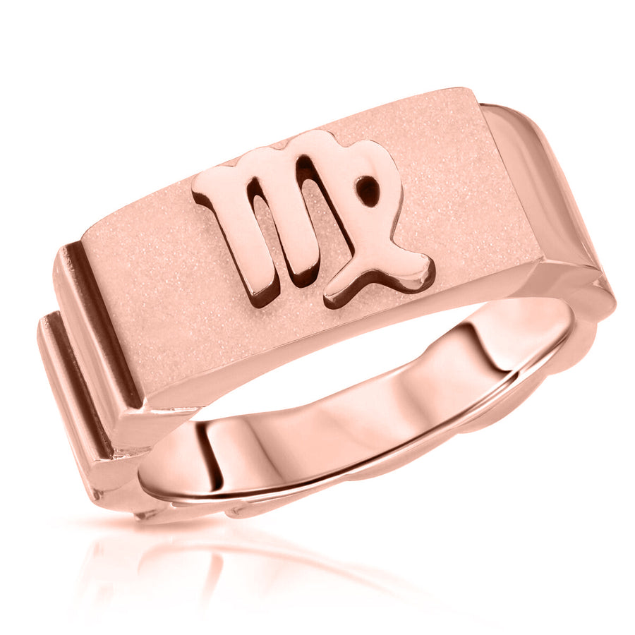 The W Brothers Virgo horoscope ring, Virgo zodiac ring, custom horoscope sign Virgo sign jewelry, made with 925 sterling silver, 14k gold 14k rose gold plated finish, zodiac jewelry high end fashion ring silver jewelry.