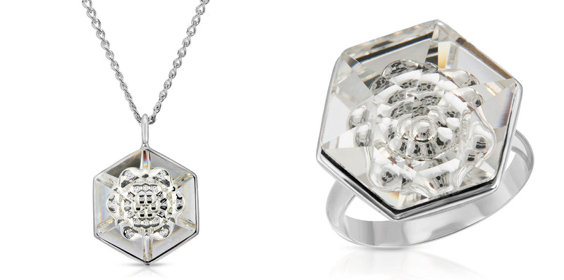 The W Brothers 18 mm Hexagon White Diamond Swarovski Pendant Necklace and Ring in Silver for girls, women, men , and male. Elegant and complete Bundle Package Set available only at www.thewbros.com