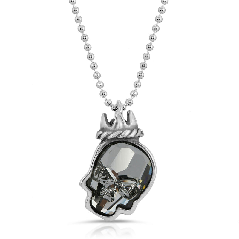 The W brothers Swarovski Skull Necklace in clear black with a gorgeous silver crown crafted from premium Grade A Sterling Silver. Perfect jewelry accessory necklace for fashionable statement women. Available at www.thewbros.com