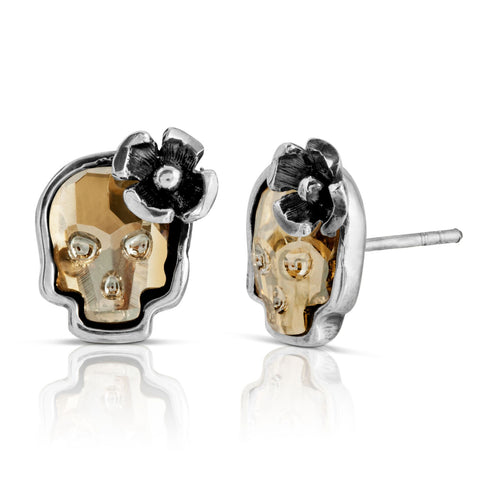 Clear Gold Flower Skull Stud Earrings