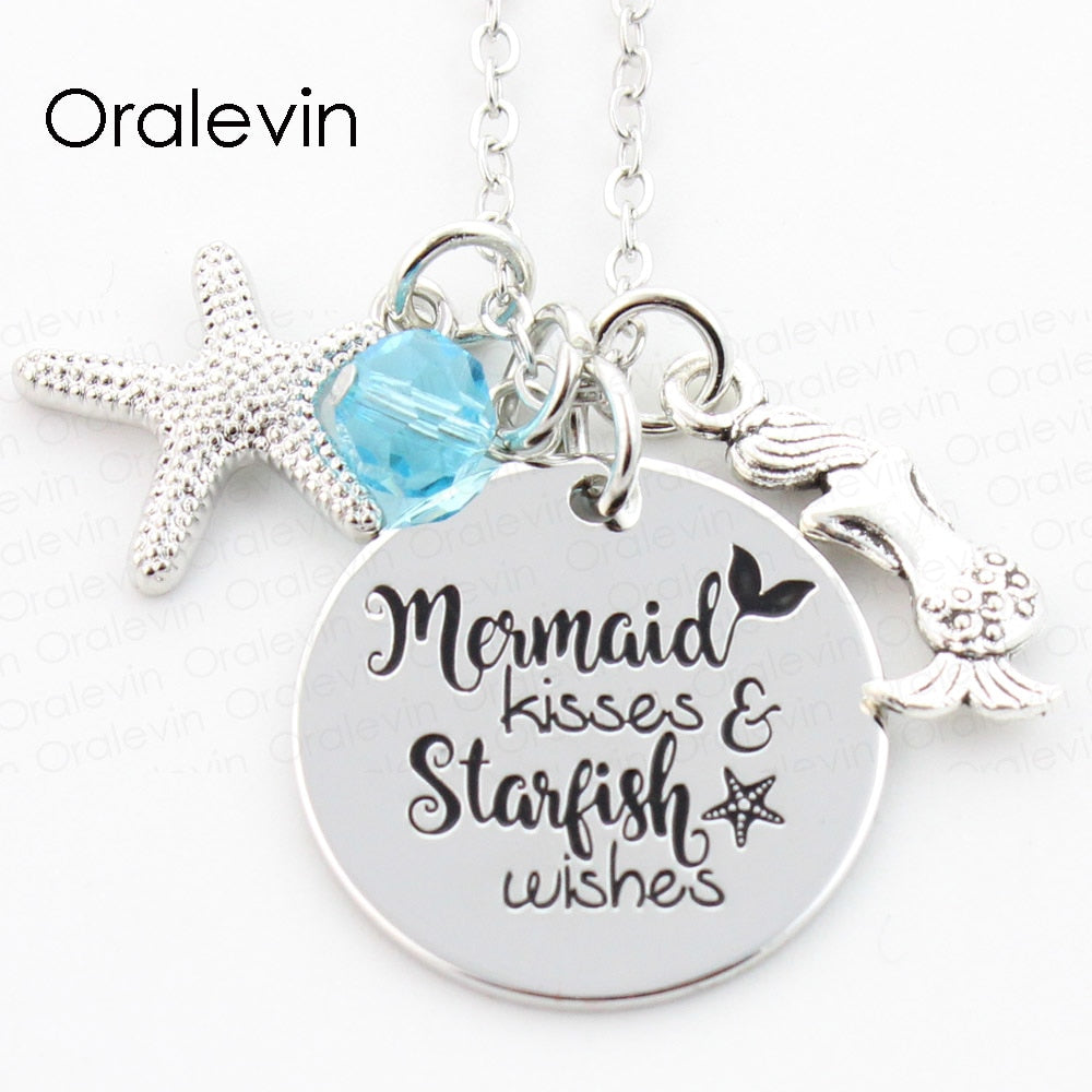 Mermaid Pendants with Charms - 4 Different Engravings Available!