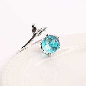Sterling Silver Blue Crystal Mermaid Tail Ring