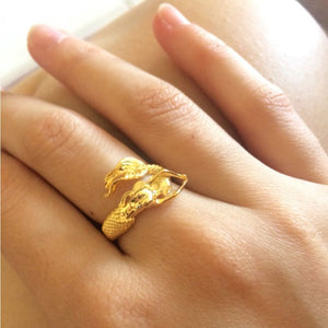Authentic 925 Sterling Silver Mermaid Ring - Gold Color